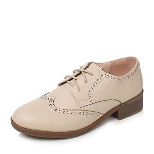 Tata/他她2017秋牛皮英伦雕花铆钉布洛克鞋方跟女皮鞋FAL23CM7