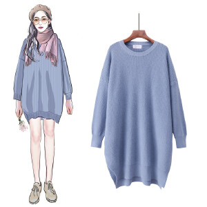 VIPEBUY 加厚针织裙子女2018秋冬季新款韩版兔绒衫中长款修身显瘦圆领套头毛衣女