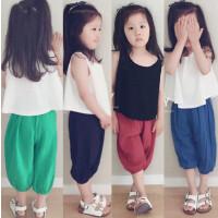 韩版女童夏装新款简约背心+哈伦裤两件套套装夏季新款A-B30