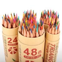 ?众叶原木彩色铅笔素描手绘24色36色48色绘画填色油性马克彩铅批发?