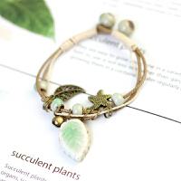 「翠绿叶手链」小清新绿叶森系超仙女气质绿色陶瓷手链文艺款手链