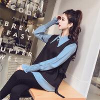 休闲套装女春装新款韩版时尚V领毛呢背心+喇叭长袖衬衫两件套