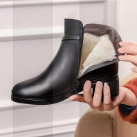 中年女鞋粗跟冬加厚中老年加绒女士棉鞋羊毛短靴妈妈棉鞋保暖防滑SN1022 黑色款(全羊毛内里)