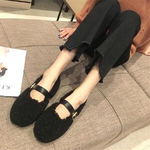 WARORWAR新品YM171-3381冬季韩版平底舒适女士乐福鞋毛毛鞋