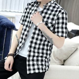 新款男士格子衬衫男短袖韩版修身百搭青少年衬衣潮 2022CS76