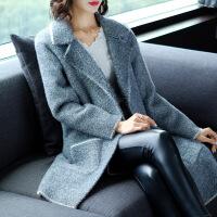 秋冬新款韩版宽松大码女装羊绒针织中长款开衫显瘦