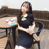 夏季女装日系软妹小性感链镂空POLO领裙子显瘦高腰短袖连衣裙潮