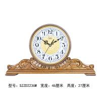 康巴丝实木电波座钟静音欧式台钟现代简约客厅时钟中式卧室钟表