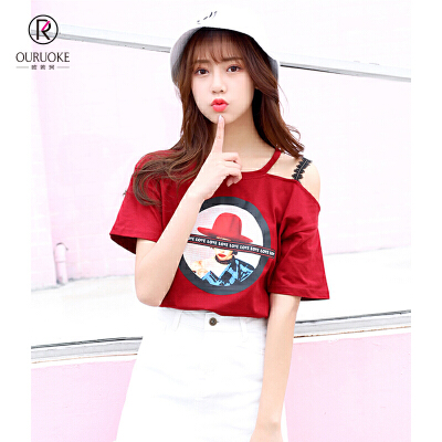 欧若珂  2018夏季新款韩版蕾丝肩带漏肩时尚印花美女头T恤女
