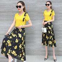 套装裙子两件套 2018夏装新款印花雪纺连衣裙女中长款韩版夏季