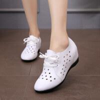 春夏季内增高白色女单皮鞋真皮坡跟中跟休闲百搭33-43码镂空女鞋