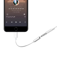 耳机转接头 iphone7苹果8 Plus音频Lightning接口转换器x耳机转接线转接头3.5 白色