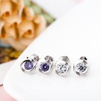 韩版时尚925银饰品 单锆镶钻耳钉浪漫玫瑰耳饰