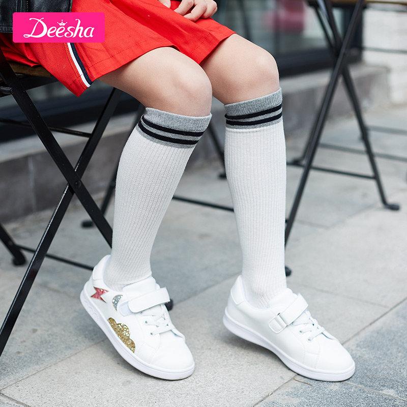 【3件3折到手价:77元】笛莎童装女童鞋子2019春季新款中大童运动鞋闪耀格利特时尚小白鞋1.21超级品类日,限时3件3折