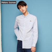 【全场2件2.5折,到手价:59.8】美特斯邦威男士毛边衬衫秋装衬衣新款潮流韩版男色织长袖衬衫