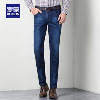 Romon/罗蒙男士牛仔裤大码休闲裤中年宽松男裤弹力直筒修身长裤子