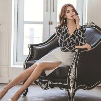 时尚名媛套装女2018春夏新款V领条纹修身衬衫+系腰带包臀半身裙 蓝色+白色 S