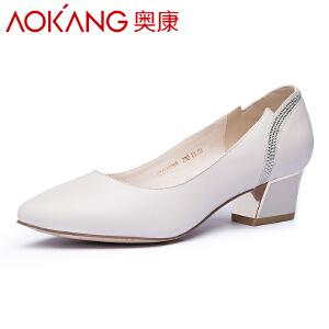 奥康女鞋 新款韩版百搭尖头高跟鞋粗跟女单鞋职业黑色工作鞋