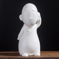创意白瓷可爱小和尚摆件 桌面茶宠家居装饰品 禅意陶瓷工艺品摆设