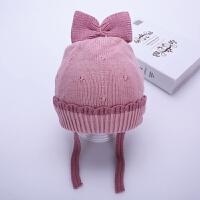 女宝宝帽子冬季4-22个月公主女童毛线帽棉衬儿童护耳帽婴儿针织帽 皮粉色 比拉系带蝴蝶结 均码