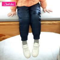 【2折价:80】笛莎女童羽绒裤2019冬季新款时尚小女孩轻薄萌趣熊耳朵羽绒裤