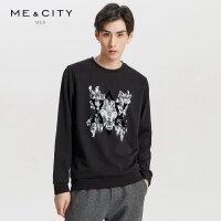 【1件2.5折到手价:83.8】MECITY男装春季棉黑色豹子印花圆领套头卫衣韩版潮流
