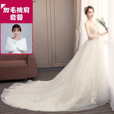 №【2019新款】新娘穿的主轻婚纱礼服新款香槟色森系拖尾法式出门抹胸超仙重工女