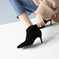 2018秋款女矮靴马丁靴翻毛皮裸色靴子细跟裸靴高跟鞋及踝靴小短靴 TBP
