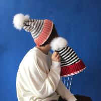 韩国横条纹大毛球球帽 针织帽毛线帽子潮女休闲韩版 拼色翻边帽子