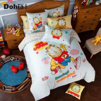多喜爱加菲猫系列全棉磨毛卡通四件套床上用品加菲猫欢乐跑