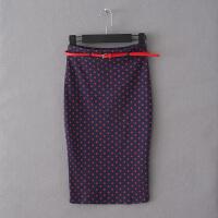女装秋装新款修身显瘦高腰波点弹力包臀针织半身裙女中裙