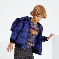 【3件1.5折到手价:104.25】米喜迪mecity童装冬男童短款帽子拉链披肩毛领加厚羽绒服