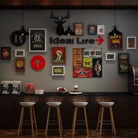 墙面装饰品复古工业风酒吧壁饰铁皮画创意个性奶茶店发廊店铺挂饰