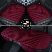 亚麻汽车坐垫四季通用单片无靠背三件套荞麦壳单个夏季防滑车座垫
