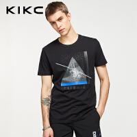 kikc短袖T恤男 2018夏季新款欧美简约印花休闲纯棉圆领上衣男士