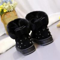 新款冬季蝴蝶结平底雪地靴厚底加绒短靴保暖棉鞋毛毛鞋短筒女靴子