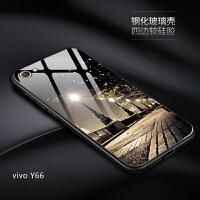 vivoy66手机壳钢化玻璃镜面vivo y66i男女款潮y66a防摔硅胶磨砂软边y66L保护