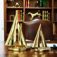 铜帆船摆件客厅酒柜书房书柜装饰品美式欧式样板房工艺品家居装饰创意家居装饰摆件