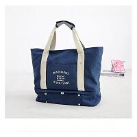 韩国时尚旅行手提包女帆布男大容量包可折叠行李衣物旅行袋拉杆包 大