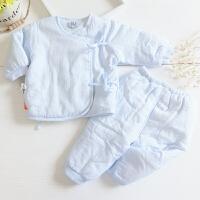 逗逗猴新生儿衣服0-3个月保暖婴儿宝宝薄棉衣套装春秋季 逗逗猴纯棉小棉袄套装 天蓝色 52cm(0-3月)