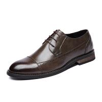 休闲皮鞋男鞋时尚英伦发型师工装复古圆头商务休闲鞋婚鞋黑色透气