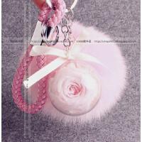 韩国汽车钥匙扣女可爱钥匙挂件创意礼品毛绒钥匙链永生花包包挂饰 粉红色 加粉色毛球