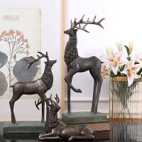 装饰品摆件创意客厅酒柜摆设家居饰品树脂工艺品美式复古北欧树脂麋鹿摆件