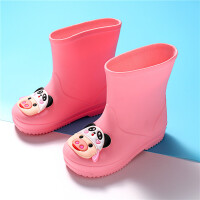 儿童雨鞋女童可爱卡通加绒加棉保暖雨靴大中小童防滑水鞋套鞋胶鞋 粉 单鞋 按照脚长拍