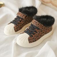 豹纹童鞋冬季新款中帮休闲鞋板鞋女童加绒运动鞋软底防滑运动鞋