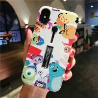 怪兽大学iPhone Xs Max多功能隐藏支架手机壳苹果7/8plus防摔卡通 6/6s(4.7) 隐藏-怪兽大学院