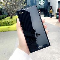 方形玻璃壳iphone7手机壳X苹果8保护套防摔创意6splus全包潮男女 i⑦/i⑧ 方形玻璃-黑色