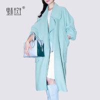 【新年狂欢到手价:498.8】魅斑2019欧美中长款羊毛呢大衣冬新款女大码西装领休闲双面呢外套