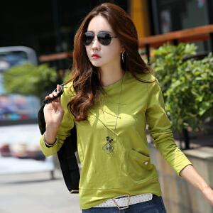宽松长袖T恤女秋装新款大码韩版修身显瘦女式体恤打底衣服