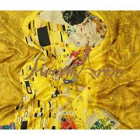蒙马特大街真丝巾斜纹手工卷边桑蚕丝方巾围巾油画克里姆特系列吻期待和服肖像
